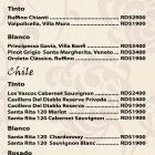 New menu of the Maria bar