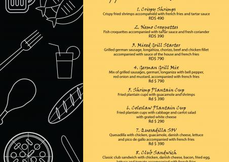 New menu at the Restaurant Laguna